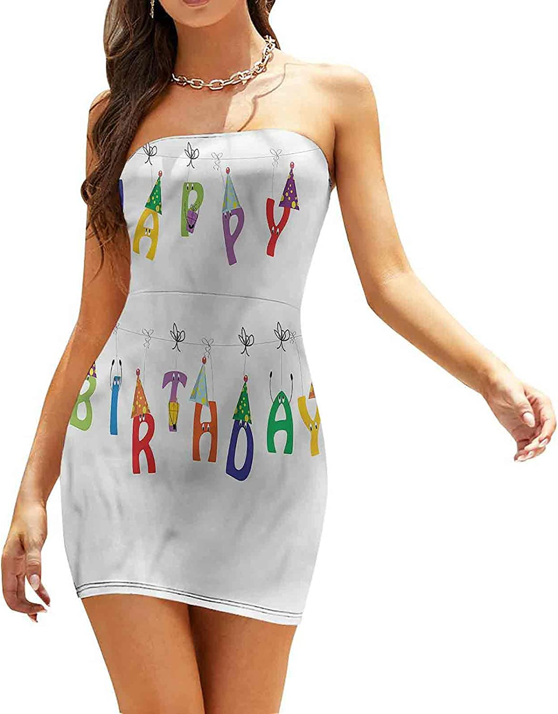 SUZM Women's Tube Top Beach Mini Dress Festive Event Cartoon Dresses