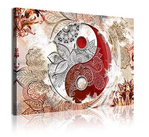 DekoArte 365 - Cuadros Modernos Impresión de Imagen Artística Digitalizada | Lienzo Decorativo Para Tu Salón o Dormitorio | Estilo Ying Yang Abstractos Zen Colores Beig Rojo | 1 Piezas 120 x 80 cm