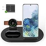 leChivée 3 en 1 Cargador Inalámbrico Wireless Charger, 10W Estación Base de Carga Rápida para iPhone 12/11,Samsung S20/S10/Note9/10/Air pods/Galaxy Buds,Galaxy Watch1/3/Active1/2 (Black)