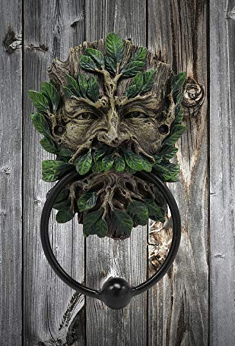 Ebros Gift English Celtic Traditional Greenman Forest Deity Spirit Decorative Door Knocker Figurine Resin Sculpture with Cast Iron Ring Ball Wiccan Tree of Life Themed Accent