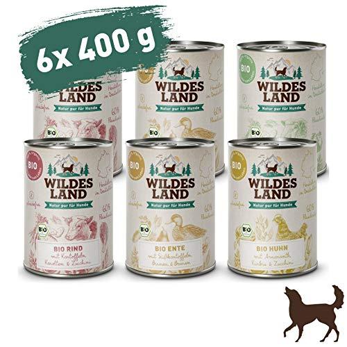 Wildes Land | Nassfutter für Hunde | Bio Mix | Getreidefrei & Hypoallergen | Extra hoher Fleischanteil von 60% | 100% zertifizierte Bio-Zutaten | Beste Akzeptanz und Verträglichkeit