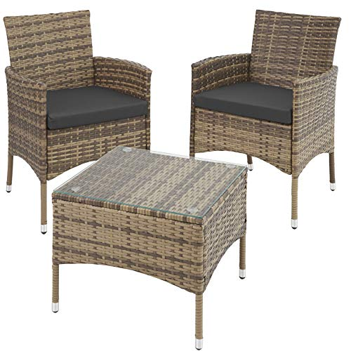 TecTake 800566 Poly Rattan Gartenset | 2 Stühle und Kleiner Tisch mit Glasplatte | Robustes Gestell aus Stahl - Diverse Farben - (Natur | Nr. 403703)