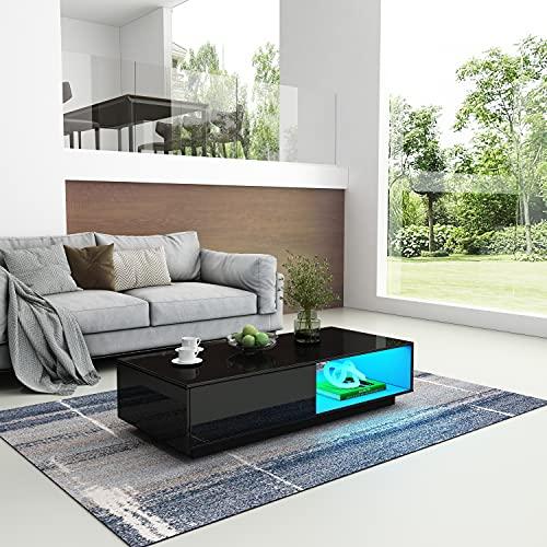 Mesa de centro de alto brillo con luces LED moderna mesa auxiliar mesa de salón con cajón de almacenamiento y estante abierto muebles para oficina en casa 95 x 55 x 31 cm (negro)