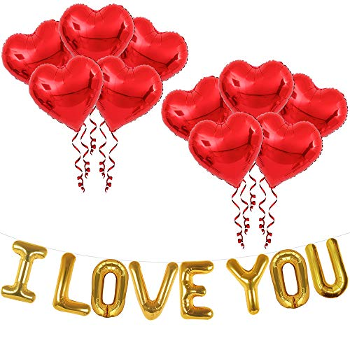 I Love You Balloons for Romantic Decorations Special Night - Heart Balloons for Valentines Day Decoration | Red Heart Anniversary Decorations Romantic | I Love You Balloons for Him or Her