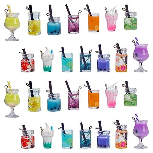 SUNNYCLUE 1 Caja 7 Estilos Leche Té Fruta Dijes Mini Botella Boba Colgantes de Helado Bebida de Imitación Resina Cristal Joyas Accesorios Accesorios para Mujeres DIY Fabricación de Collares