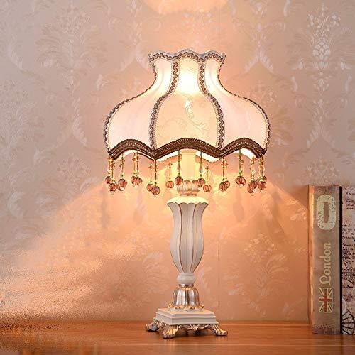 GDICONIC Lámpara Escritorio Lámpara Blanco Patrón de Encaje Bordado Bordeado Tassel Colgante Lámpara Lámpara de Mesa Sombra de Resina Blanca Lámpara de Cama Lámpara de Cuerpo Lámparas de iluminación