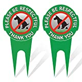 HEIOKEY 2 Pack No Poop Dog Sign with Stake 12' x 6',Double Sided No Pooping Dog Sign Politely Reads:Please Be Respectful Thank You - Stop Dogs from Pooping or Peeing On Your Lawn Yard Sign