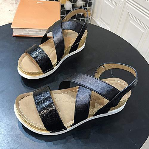 LXYYBFBD sandalen voor dames, zomer-sandalen, casual schoenen, elastisch, goudkleurig, glanzend, comfortabel, vlakke hoeken, zwart