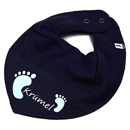 Elefantasie HALSTUCH Füßchen mit Namen oder Text personalisiert dunkelblau für Baby oder Kind