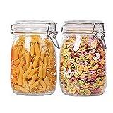 Annfly 2 tarros de almacenamiento de vidrio con clip superior y botes herméticos, tarros de almacenamiento de vidrio para pasta, café, cereales, azúcar, especias mermelada (1000 ml)