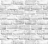 Yancorp White Gray Brick Wallpaper Grey Self-Adhesive Contact Paper Home Decoration Peel and Stick Backsplash Wall Panel Door Christmas Decor (18'x394')