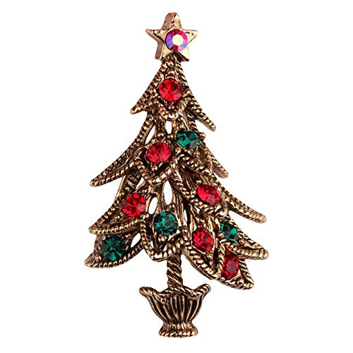 xxiaoTHAWxe Multipurpose Creative Vintage Rhinestone Inlaid Christmas Tree Brooch Pin Lapel Clip, Broochpin Dress Jewelry Decor, Best Birthday Christmas Gift for Girls and Women Antique Golden