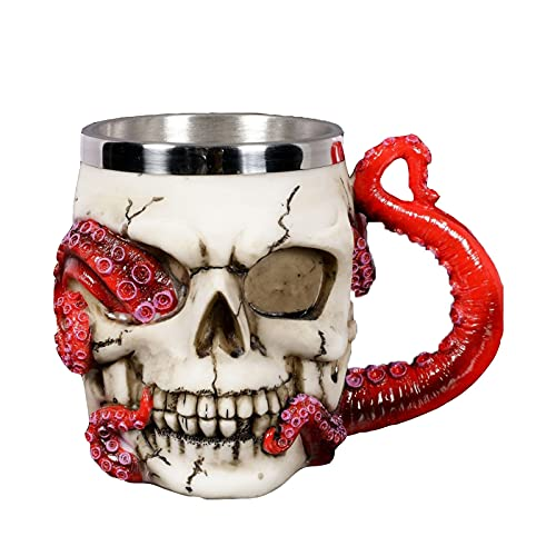 Taza De Calavera Taza De Cerveza De Pulpo con Mango De Tentáculo, Acero Inoxidable Y Copa De Vino De Resina para Tanque De Huesos Decoración De Halloween De Miedo