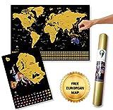 Global Walkabout - planisfero da grattare, con sfondo con bandiere, dimensioni portatili, poster con planisfero, deluxe, da viaggio, con paesi e dati, idea regalo Nero