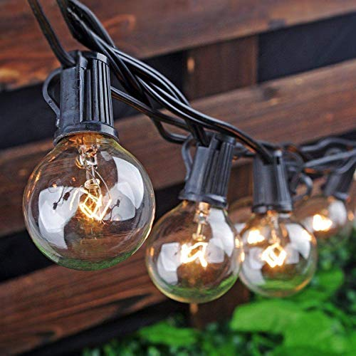 Goothy Globe Holiday String Lights With G40 Bulbs (50Ft.) Backyard Patio Lights Garden Bistro Party Natural Warm Bulbs Cafe Hanging Umbrella Lights On Light String Indoor Outdoor-Black