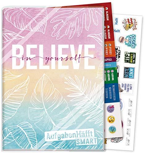 Häfft Smart Hausaufgabenheft A5 [Believe in yourself] ohne Datum | Der Clou: immer sichtbarer Stundenplan! Inkl. Kunstoffumschlag + Sticker