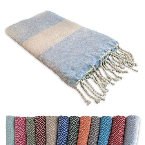 Fouta Tuch & Decke: 100 x 200 cm groß kompakt, lang leicht dünn, Baumwolle   Strandtuch Umhängen, Picknickdecke, Hamamtuch Saunatuch, Sofa Wohndecke, Damen Herren Yoga Handtuch Badetuch (Hellblau)