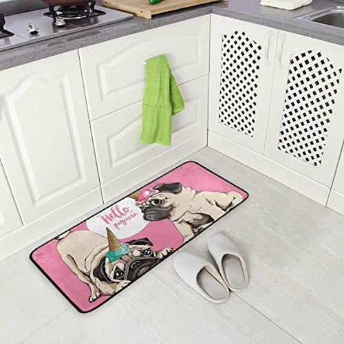 SENNSEE Haustier Süßer Hund Pug Pugicorn Küchenteppich Indoor Outdoor Fußmatte rutschfest Küchenmatte Komfort kleine Bodenmatte für Zuhause, 99,1 x 50,8 cm