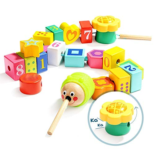 Affordable Blocks Large Lacing Bead Set for Kids Bead Stringing for Toddlers Educational Stringing T...