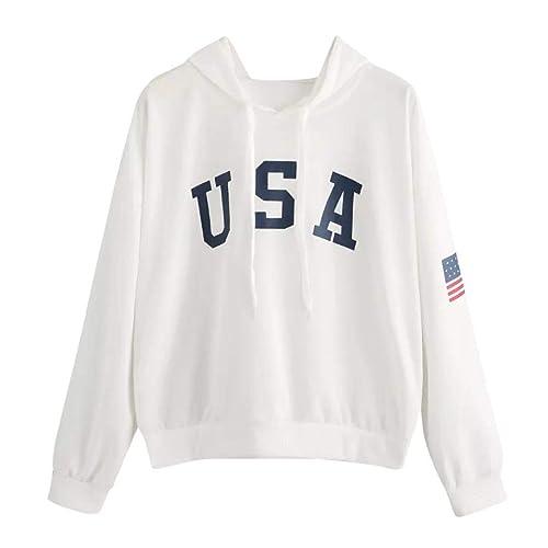 4e53bad5 DEATU Womens Hoodies,Ladies Teen Girls Letter Flag Printed Sweatshirt Long  Sleeve Pullover Tops Blouse