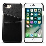 iPhone8 7 ケース カードホルダー PUレザー 合皮 軽量 アイフォン8 7 4.7インチ カバー ブラック