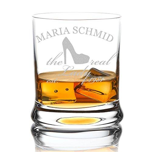polar-effekt Leonardo Whiskyglas Personalisiert 350 ml - Geschenk-Idee für Frauen – Tumbler für Whiskey, Scotch und Co mit Gravur Name und Jahreszahl - Motiv Real Lady