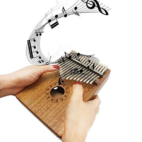 NIHAOA Tragbare Daumenklavier 17 Keys Marimba Holz Kalimba Daumenklavier Mini Tasteninstrument mit Tuner Hammer + Aufkleber + Velvet Taschen (Color : -)