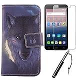 Lankashi 3in1 Set Wolf PU Flip Leder Tasche Für Alcatel One Touch Pop 4 Plus Hülle Lederhülle Handyhülle Gehärtetem Schutzglas Hartglas Glas Stift