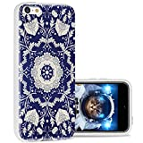 iPhone 5c Case Cool Cute,ChiChiC 360 Full Protective Anti Scratch Slim Flexible Soft TPU Gel Rubber Clear Cases Cover with Design for iPhone 5c,Silvery Henna Mandala Floral Flower on Blue