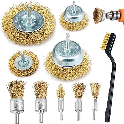 Lot de 10 brosses métalliques pour perceuse, brosse en fil laiton, brosse et brosse pour nettoyage de la rouille, décapage et abrasif pour perceuse