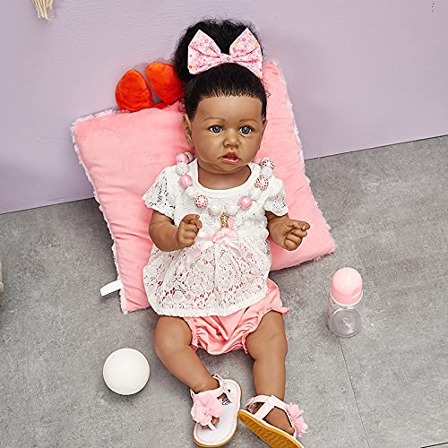 Muñecas Renacidas de 22 Pulgadas Muñeca de Niña Negra con Peso Realista Muñeca Realista para Niños Pequeños Accesorios de Juguete Mejor Set de Cumpleaños para Niñas de 3 Años,E