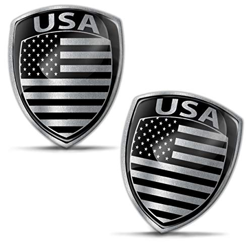 Biomar Labs® 2 x 3D Gel Pegatinas Siliconas Adhesivos Emblema Auto Coche Moto Bici Ordenador Bandera Nacional Americana EE.UU United States USA Negro Plata F 158