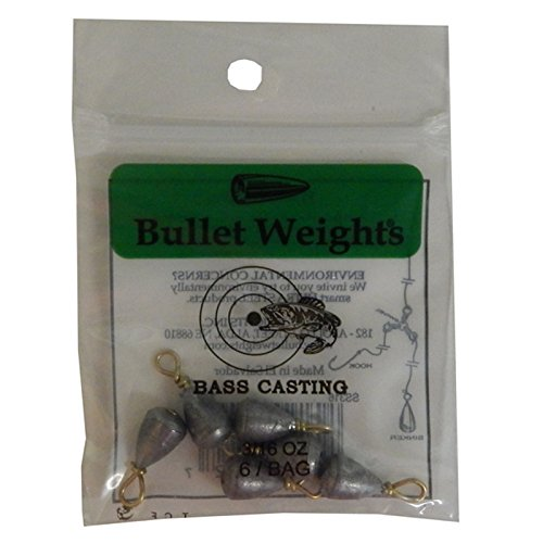 Bullet Weights Bass Casting Sinkers #9-3/16 oz. 6 pc