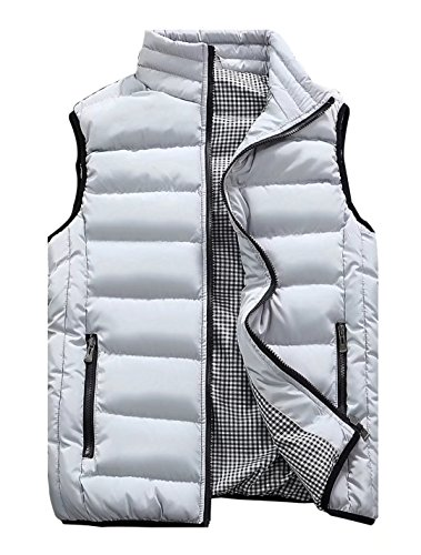 Vcansion Men's Outdoor Casual Stand Collar Padded Vest Lightweight Down Cotton Jacket Coat Vest White Grey S