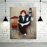 Pintura al óleo Art déco sobre Lienzo, Nuevo Arte Abstracto del Chef Experto Imagen del Libro de Recuerdos decoración del hogar Pintura sin Marco 50x75 cm