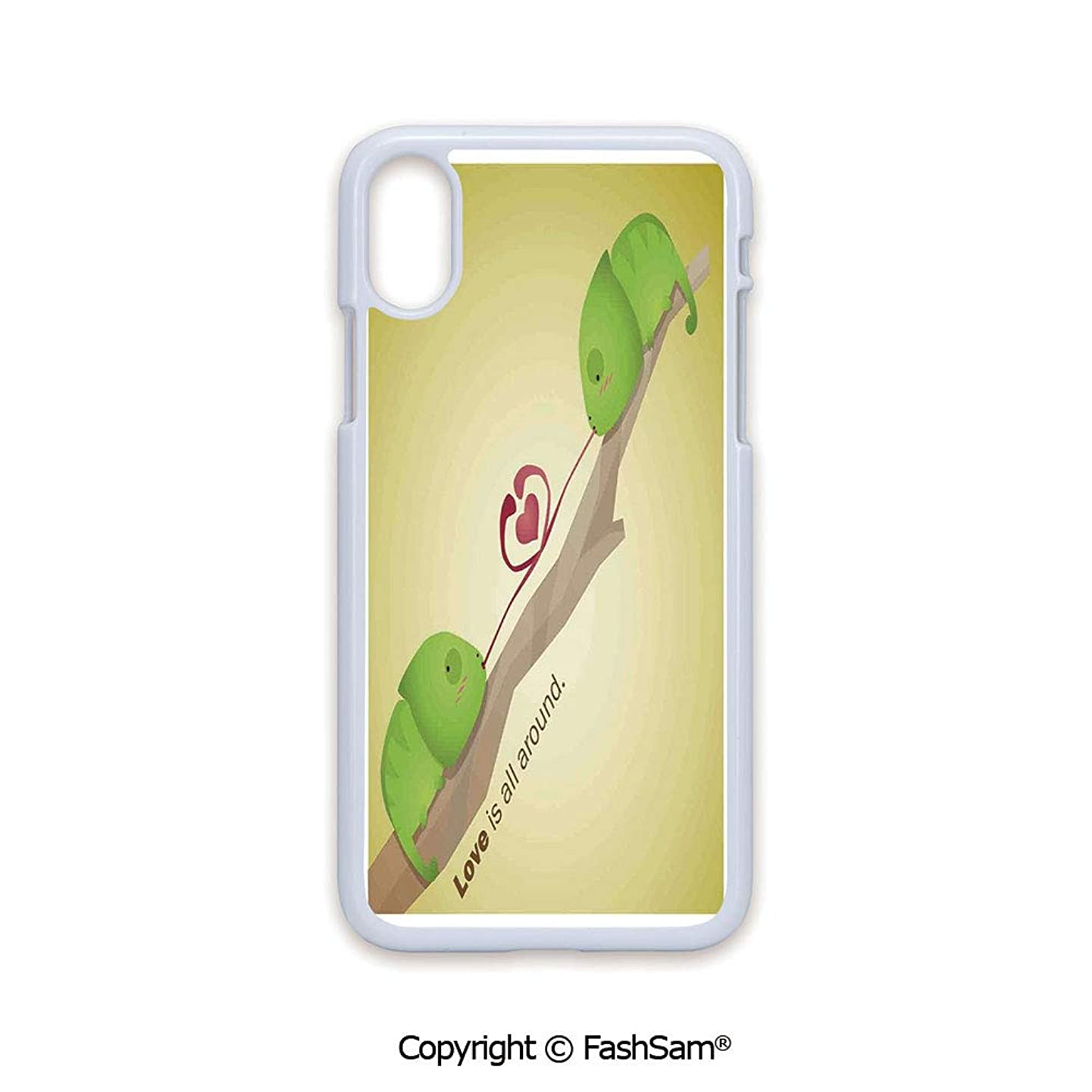 Plastic Rigid Mobile Phone case Compatible with iPhone X Black Edge Little Tree Reptiles on The Branch Make Love is All Around in Planet Earth Design 2D Print Hard Plastic Phone Case