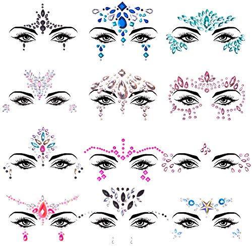 SIQUK 12 Sets Face Jewels Mermaid Face Gems Face Rhinestone Temporary Tattoos Crystal Tears Gems Stones for Race Carnival Festival Party