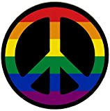 Peace Sign (Rainbow) - Small Bumper Sticker or Laptop Decal (3.25' Circular)