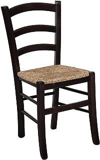 Made in Italy Biscottini Seggiolone in legno massello di faggio grezzo con seduta in paglia 43x43x91 cm