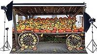 HDハッピー感謝祭の背景ファームカートの背景に10x7フィートのビニールカボチャヴィンテージホイール田舎農地パンプキンショップ写真背景秋の挨拶収穫写真スタジオ小道具69