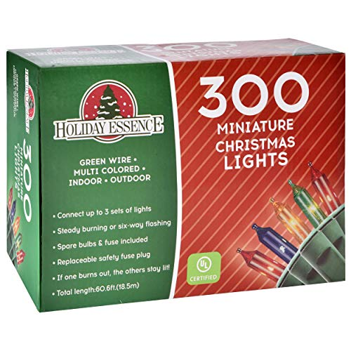 Holiday Essence 300 Multi-Color Christmas Lights, with Green Wire – Professional Grade for Indoor / Outdoor Use – Static + Flashing