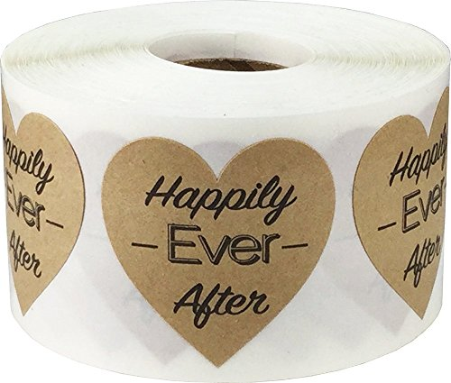 Brown Kraft Heart with Black Happily Ever After Stickers, 1.5 Inches in Size, 500 Labels on a Roll