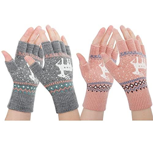ECOMBOS Fingerlose Winterhandschuhe – 1/2 Paar warme Halbfinger-Handschuhe gestrickt für Herren und Damen für Sport, Laufen, Arbeit, Grau + Rosa, M