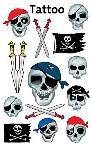 AVERY Zweckform 56632 Tattoo Kinder 13 Stück (Temporäre Tattoos Totenköpfe, Kinder Tattoo wasserfest, Klebetattoos, Kindergeburtstag, Mitgebsel, Partyspiele Preise, Kinder zum Spielen, Tattoo Jungen)