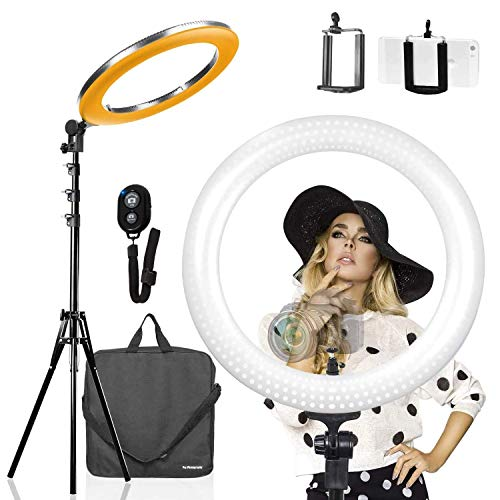 LimoStudio LED 18 Inch Ring Light Multi-Color 3200K–5600K and Dimmable with Camera Adapter, Bluetooth Shutter, Cell Phone Holder & 71.5 Inch Height Adjustable Photo Studio Light Stand Tripod, AGG2397