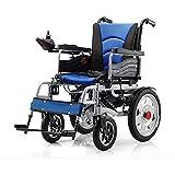 NACHENW Angetriebene Klappstahlrollstuhl Leichtes Mobilitätsgerät für ältere Beine, Füße behindert, hemiplegische Patienten,Blau -