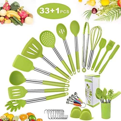 Kitchen Silicone Cooking Utensil Set,34pcs Silicone and Stainless Steel Cooking Utensils,Non-Stick and Heat Resistant Cooking Utensils Set,Best Kitchen Tools,Useful Pots and Pans Accessories