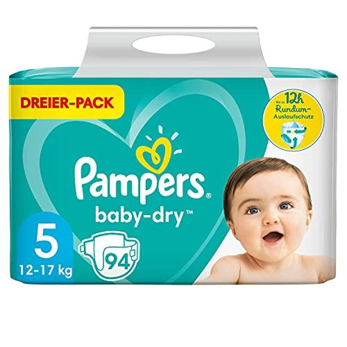 Pampers Windeln Größe 5 (11-16kg) Baby Dry , 94 Stück, Bis Zu 12Stunden Rundum-Auslaufschutz