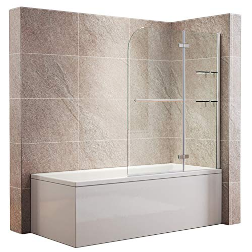 SONNI Duschwand für badewanne 100x140cm (BxH) mit Handtuchhalter + Eckregal,Duschwand Badewannenaufsatz, Duschtrennwand (100x140(BxH) cm, Klarglas)