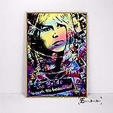 jzxjzx Brigitte Bardot Straße gemalt Pop Art Leinwand Malerei Poster und Drucke für Wohnzimmer Keine gerahmte Wand Kunst Bild Home Decor